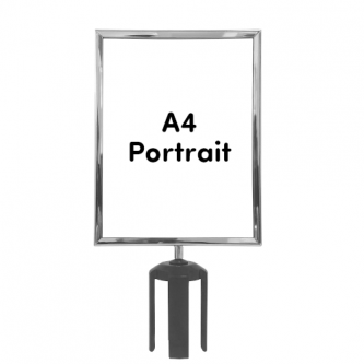 Queue Barrier Sign Frame - A4 Portrait - Polished Chrome