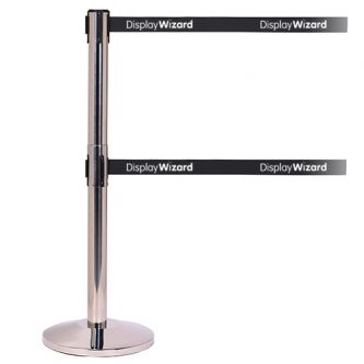 QueueMaster Twin Retractable Barriers - Custom Belt - Polished Stainless Steel Post