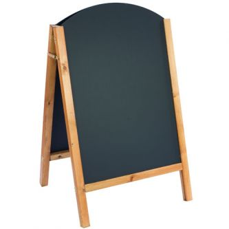 Curved Top Reversible A-Frame Chalkboard - Antique Pine Finish