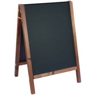 Straight Top Reversible A-Frame Chalkboard - Oak Finish