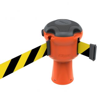 Skipper Retractable Safety Barrier - Orange Post/Yellow and Black Belt