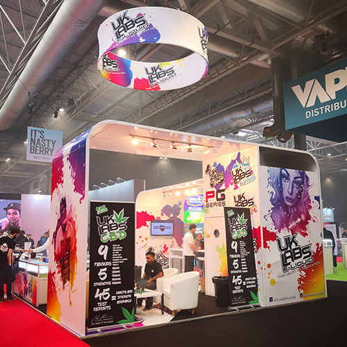 exhibition stand with hanging banner